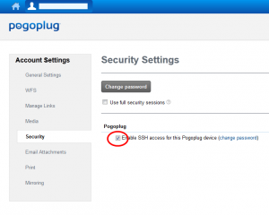 Pogoplug website with security settings